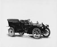 1909 Packard 30 Model UB touring car no top, three-quarter front view, right side