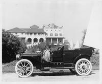 1909 Packard 30 Model UB touring car parked in front of Detroit Boat Club on Belle Isle