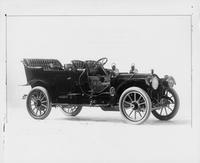 1910 Packard 30 Model UC touring car, three-quarter front view, right side, no top