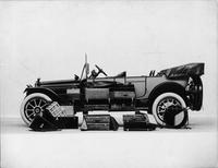 1914 Packard 2-38 salon touring car, left side, two-toned, top folded, with storage trunks