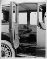1914 Packard 2-38 limousine, view of interior, right side rear door opened
