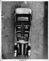 1917 Packard parked on street, view from above, showing seating and steering wheel