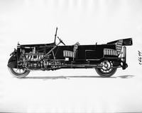 1917 Packard touring car, left side view, dissection, showing inside of motor and seats
