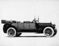 1917 Packard two-toned touring car, seven-eights right side front view, top lowered