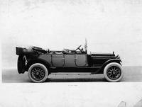 1917 Packard two-toned touring car, right side view, top lowered