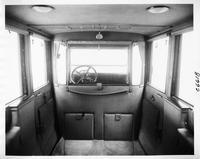 1917 Packard limousine, view of interior from rear seat, shown with forward auxiliary seats folded