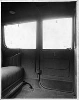 1917 Packard limousine, view of rear interior from side door