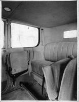 1917 Packard cab side landaulet, view of rear interior from left side door
