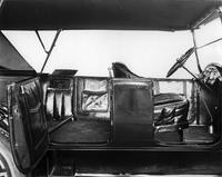 1918 Packard touring car, close up of leather interior, right side view with both doors open, top raised