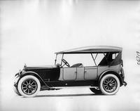 1918 Packard two-toned touring car, left side view, top raised