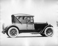 1918 Packard two-toned runabout, nine-tenths right rear view, top raised, side curtains in place