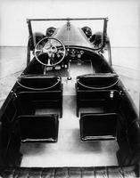 1918-1919 Packard salon touring car, elevated view of interior and steering panel, top folded