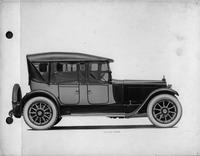 1918-1919 Packard two-toned phaeton, right side view, top raised, side curtains in place