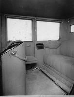 1918-1919 Packard brougham, view of rear interior through right rear door