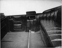 1918-1919 Packard salon touring car, view of rear interior through right rear door