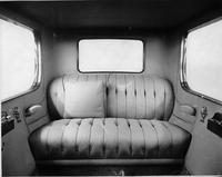 1918-1919 Packard limousine, view of rear interior from front, with pillow on back seat