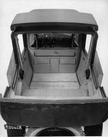 1918-1919 Packard landaulet, view from above of rear interior through collapsed rear quarter