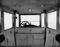 1918-1919 Packard landaulet, view of interior from rear seat