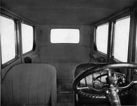 1918-1919 Packard brougham, view of interior through front windshield