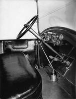 1918-1919 Packard landaulet, view of front interior showing steering mechanisms