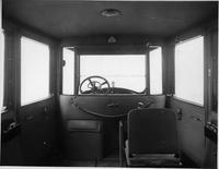 1918-1919 Packard limousine, view of interior showing right, forward-folding auxiliary seat