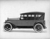1921-1922 Packard two-toned touring car, top raised, storm curtains in place