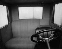 1921-1922 Packard coupe, view of interior, through windshield