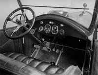 1921-1922 Packard open-body type car, view of instrument panel and front seat