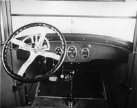1922 Packard sedan limousine, view of instrument panel and steering wheel