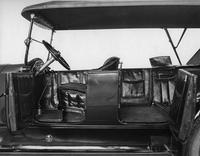 1920-1923 Packard touring car, left side view of interior, top raised