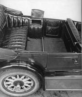 1920-1923 Packard touring car, right side elevation view of rear interior, top lowered