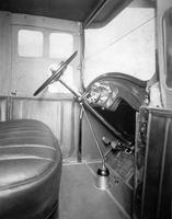 1920-1923 Packard limousine showing steering wheel and instrument panel
