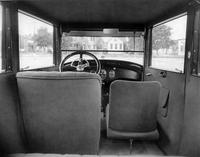 1922-1923 Packard coupe, view of interior from rear seat
