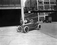 1923 Packard special speedster outside Packard plant