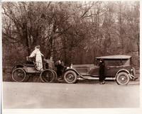 1924 Packard touring car and 1899 Packard model A, face to face