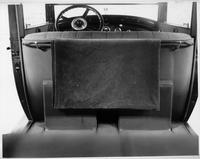 1924 Packard sedan interior from rear seat, detail of lap robe