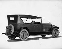 1924 Packard touring car, three-quarter left rear view, top raised