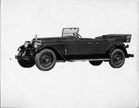 1925-1926 Packard two-toned touring car, left three-quarter side front view, top lowered