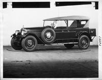 1925 Packard touring car, seven-eights left front view, top raised