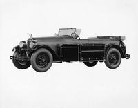 1925-1926 Packard touring car, three-quarter left front view, light color, trunks on running boards