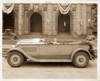 1927 Packard phaeton with Baby Snookums behind wheel in St. Louis, Mo.