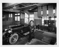1927 Packard runabout photographed in engineering test room