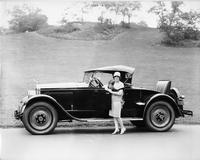 1927 Packard runabout, owner Miss Marjorie Dork standing at driver's door