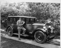 1927 Packard sedan, owner William Mather Lewis standing at passenger door