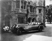 1927 Packard touring car in front of Blair Hall, Princeton University, Charles Eastman driving