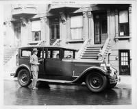 1927 Packard sedan limousine, owner Arthur William Brown at tonneau door