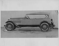 1927 Packard phaeton, left side view, top raised, light in color