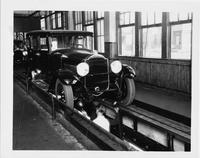 1929 Packard sedan, three-quarter front view, coming down final inspection line