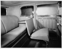1930 Packard sedan limousine, view of rear forward-folding auxiliary seat