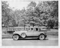 1930 Packard coupe, left side view, male driver, in a park like setting